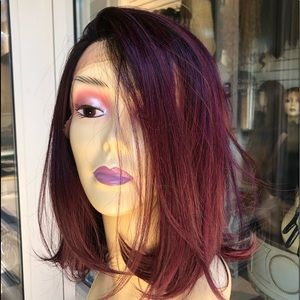 Accessories - Red wine bob wig ombré burgundy lacefront Bob Wig